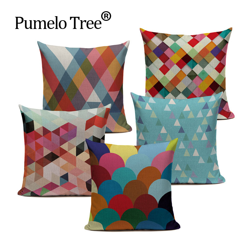 Nordic Vintage Cushion Cover Colorful Plaid Geometric Cushions For Sofa Seat Watercolor Home Decor Throw Pillow Case 45*45cm