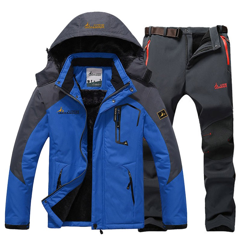Winter Ski Jacket suits Men Waterproof Fleece Snow Thermal Jacket Outdoor Mountain Skiing Snowboard Soft Shell Pants suits 5XL outdoor female hiking soft shell jacket suits with soft shell fleece pant sport waterproof breathable warm fleece rain jacket