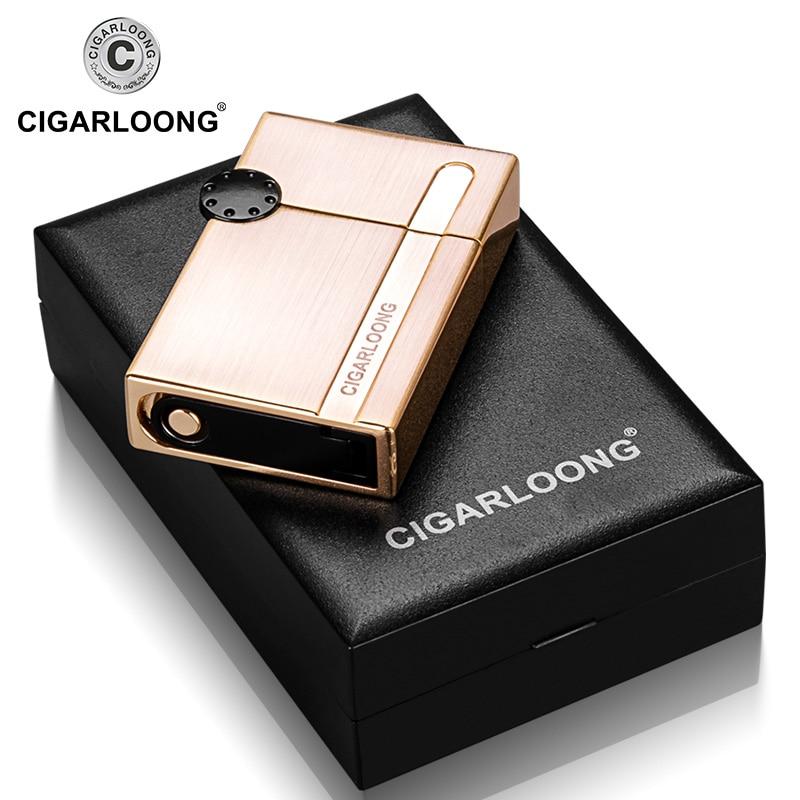 Купить с кэшбэком Cigar Lighter wholesale Windproof Straight Portable Cigar Lighter with Cigar Punch Gift Box Packed CB-0902