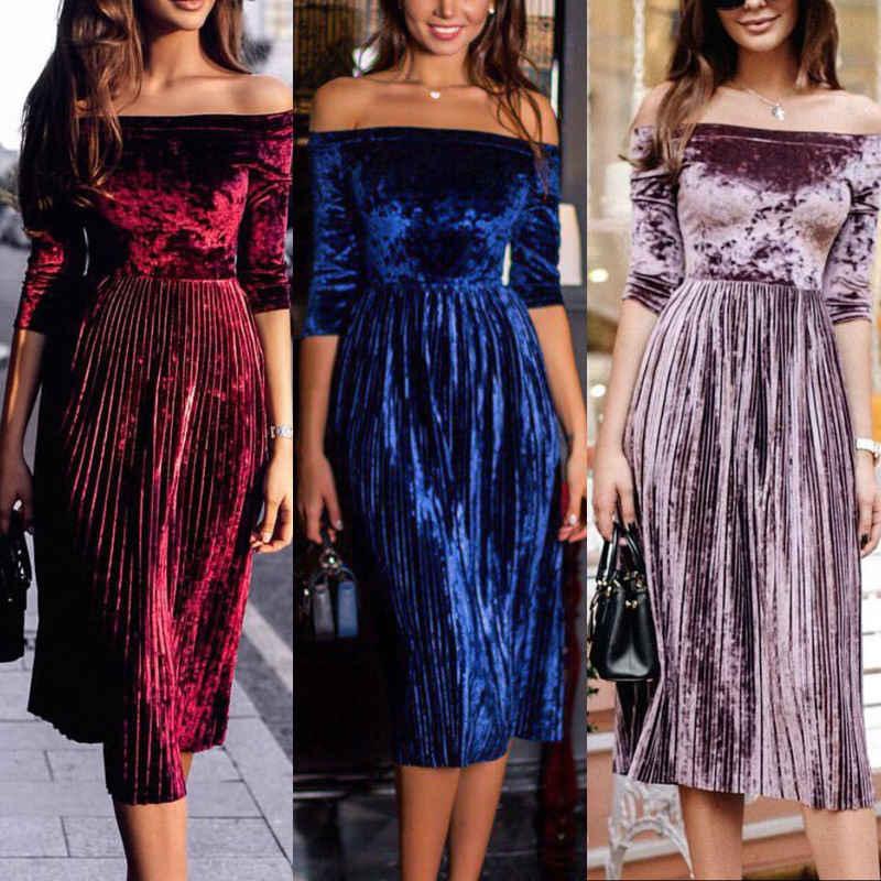 843d127aa74 2018 новые летние Стиль модные Повседневное Для женщин бархат Повседневное  среднего рукавом коктейльное одноцветное вечерние по