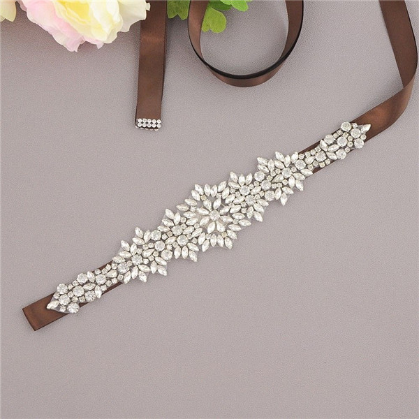 Купить с кэшбэком Rhinestone Belt Crystal Bride Wedding Dress Belt Sash Satin Ribbon Bridal Accessories cinturon flores