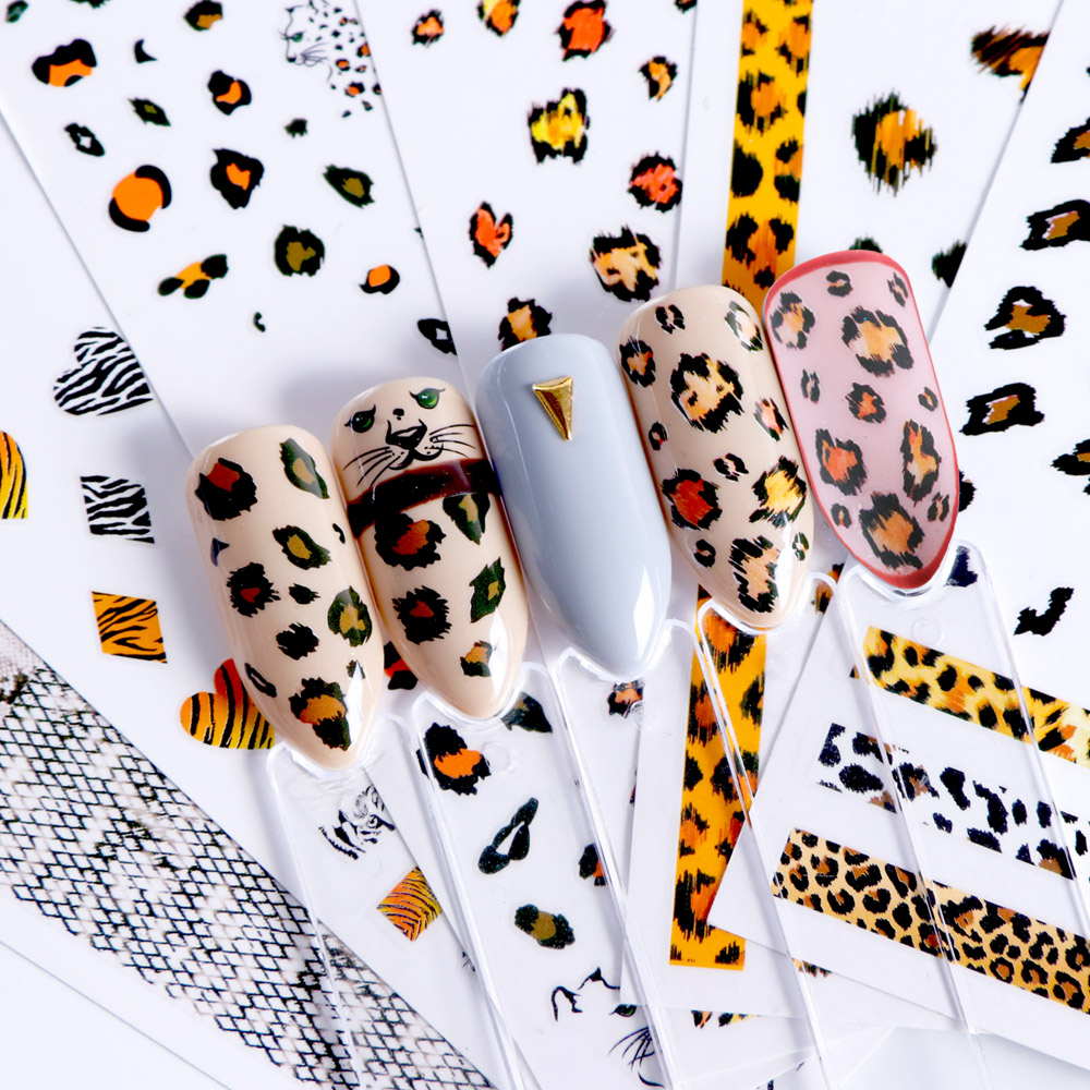 US $0 61 40% OFF|3D Nail Art Adhesive Stickers Leopard Print Snake Spot  Designs Decals Nails Decorations Wraps Foils Polish Manicure TRF505 510-in