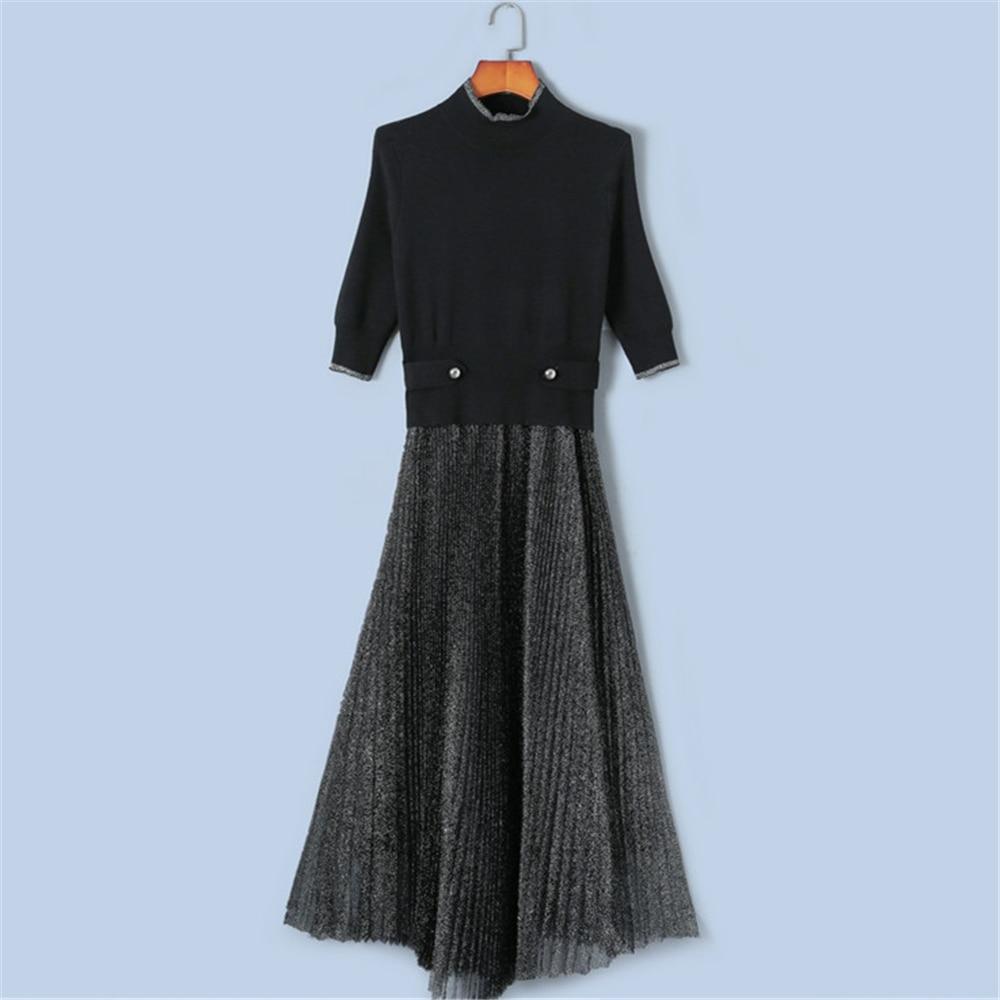 Tunjuefs Design Bling Half Sleeve Dress Women Robe Autumn 2019 NEW Mesh Patchwork Knit Dress Button