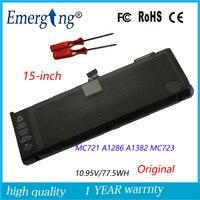 10.95 볼트 77.5Wh 새로운 원래 노트북 배터리 애플 맥북 프로 15 A1286 2011 2012 시리즈 A1382 MC723 MC721 함께 도구