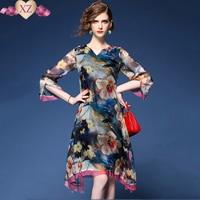 2017 Top Zomer vrouwen Hoge end merk fashion Casual losse bloemenprint casual jurken strand zonnejurk mooie elegante jurk