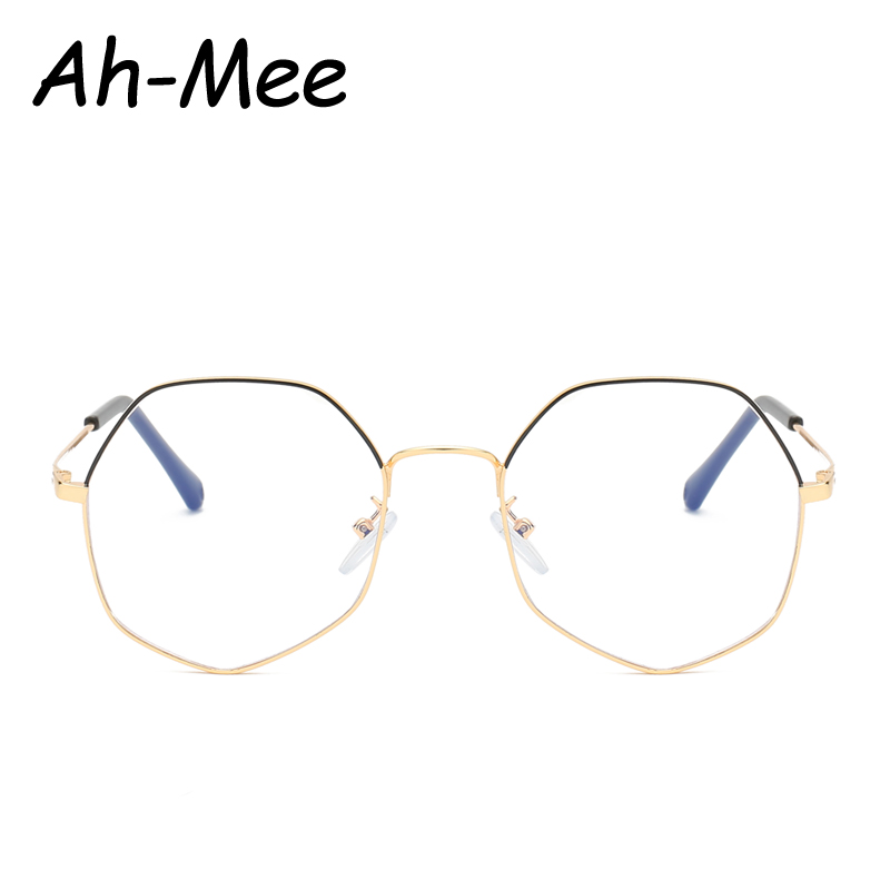 Retro Metal Pilot Nerd Glasses Frames Women Men Vintage Polygon Clear Fake Transparent Lens Brand Designer Eyeglasses Frame