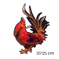 Multicolor Cock Crow Sequins Applique Large Embroidery Rooster Big Rooster Patch For Clothes DIY Decoration Accessories