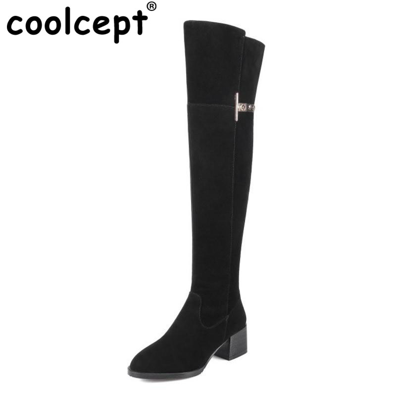 Coolcept Size 31-45 Warm Winter Boots For Women Real Leather Over Knee Long Boots Women Rivets Thick High Heels Warm Botas casual aquarius print and canvas design shoulder bag for women