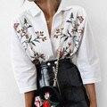 Zewo moda flare floral bordado mulheres blusas camisa primavera verão 2017 ocasional das senhoras brancas de manga tops camisas blusas femme