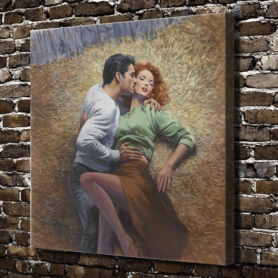 A2334 sexy men women kiss hug figures scenery hd canvas - Sensual paintings for the bedroom ...
