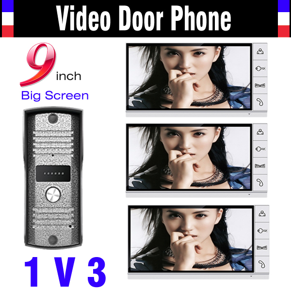 9 Inch Color Lcd Monitor Wired Video Door Phone Intercom System Doorphone Intercom 3 Monitor 1 Door Camera Video Door Bell