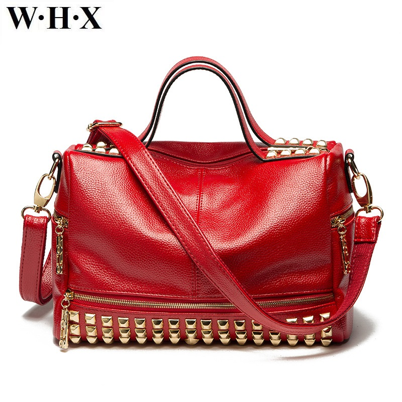 WHX Designers Fashion Casual Style Women Totes Bag CrossBody Bag Female Red Handbag Leather Shoulder Messenger Motorcycle Bags