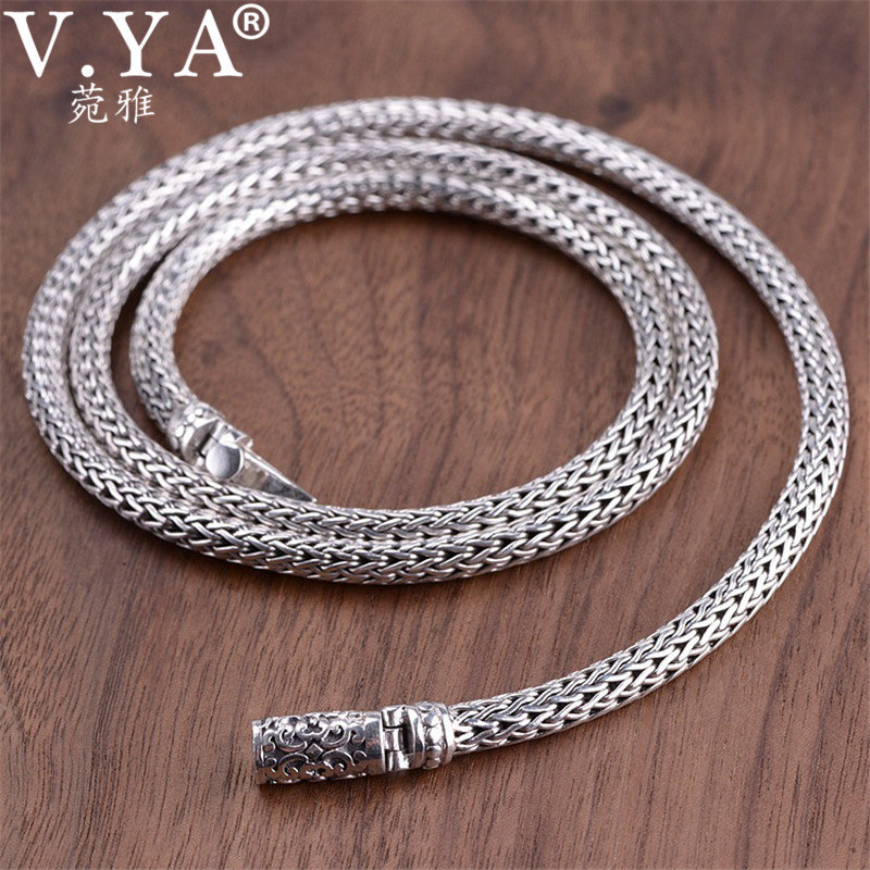 V YA 5MM Thick Snake Chain Silver Male Necklaces Punk 925 Sterling Silver Heavy Chain for