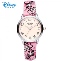 100 Genuine Disney Children Fashion Cartoon Leather Strap Wristwatches Quartz Watch Sport Wrist Watch Casual Kid