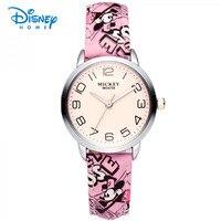 100 Genuine Disney Children Fashion Cartoon Leather Strap Wristwatches Quartz Watch Sport Wrist Watch Casual Kid
