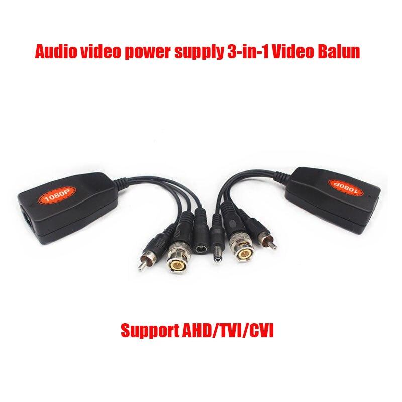 Free Shipping AHD TVI CVI 1080P BNC RJ45 UTP Cat5E/6 Cable Video Audio Power CCTV Balun