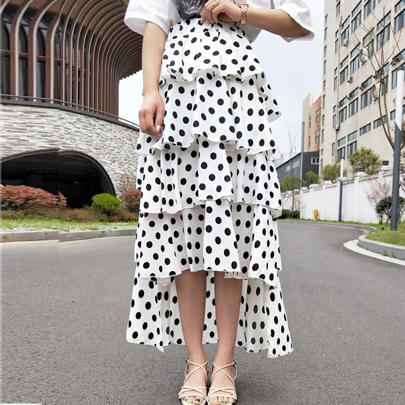 Summer Korean Chic High Low Cakee Layered Dotted Long Skirt High Waisted Sweet Black/White Dot Ruffled Tiered A-ling Calf Skirt