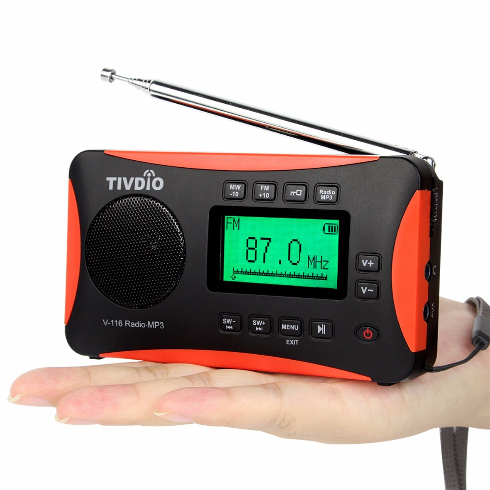 TIVDIO V-116 Portable Shortwave Transistor Radio With AM FM Support Micro-SD Card AUX MP3 Player Speaker Alarm Clock Sleep Timer