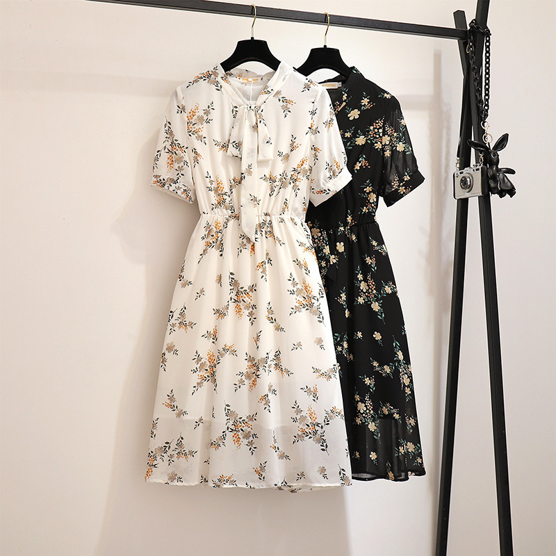 2XL-6XL Summer Plus Size Print Dress Casual Women Loose Chiffon Floral Print Dress Ladies Elastic Waist Boho Large Size Dresses