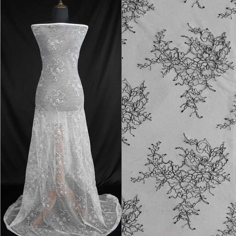 LFY 10 metros 150 cm Marfim Novo estilo fino cordão preto moda vestido de Tecido DIY moda Chantilly lace atacado