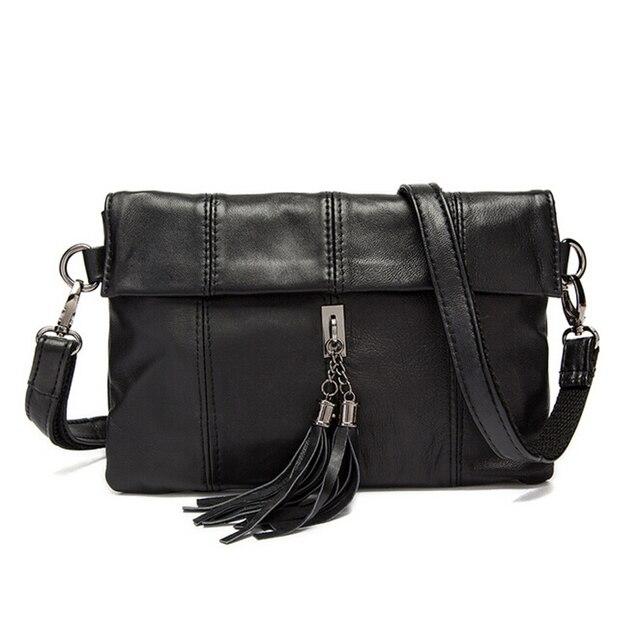 b9fd768a1647 High Quality Clutches Bag Women Handbag Genuine Leather Vintage Style Envelope  Messenger Bag Black Bag 8320