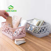 JiangChaoBo Solid Color Desktop Storage Basket Cosmetic Storage Box Bathroom Rectangular Plastic Drain Storage Basket