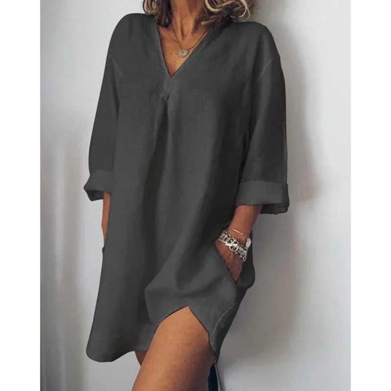 LASPERAL 女性ルースドレスカジュアル無地の V ネック長袖 Torridity 女性のドレスカジュアルリネンポケット白 Vestidos 4XL
