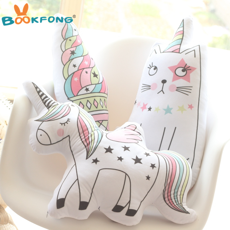 все цены на Kawaii Unicorn Plush Toy Soft Icecream Plush Pillow Soft Animal Shaped Doll Baby Kids Bedroom Decoration Kids Gift Toys