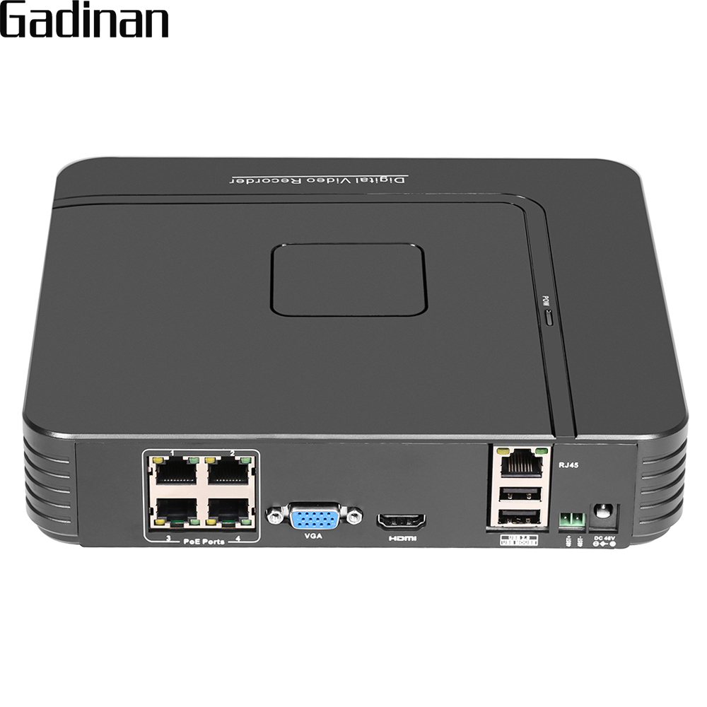 GADINAN 48V H.264 4CH 1080P 2.0MP POE NVR DVR CCTV System Kit P2P Network Video Recorder for IP Security Surveillance Camera