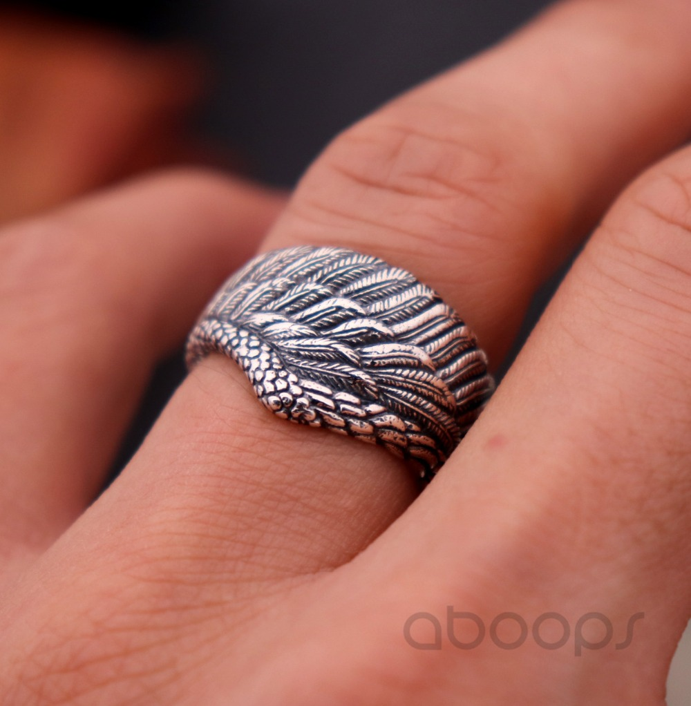 Mens Ladies Adjustable Solid 925 Sterling silver Angel wing Feather ring Gift
