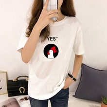New Tshirt Women's Korean Style Casual Round Neck tee shirt femme Cartoon Cock & Letters Print Short Sleeve T-Shirt Women Tops