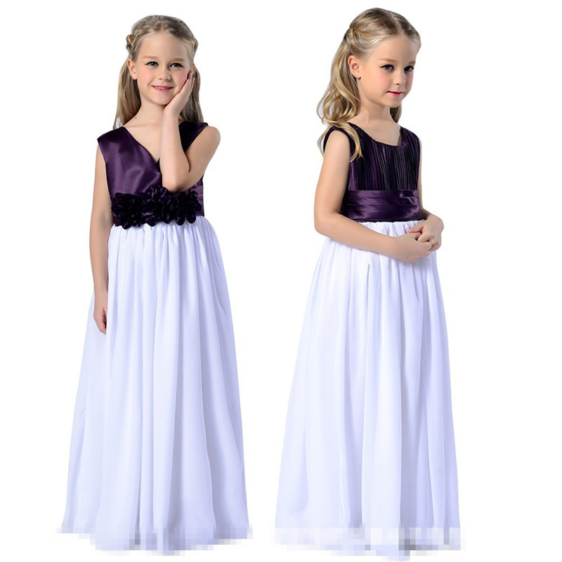 YWHUANSEN Long Prom Girl Dress Chiffon Wedding Dress For Girls Summer Kids Clothes Girls Dresses For Party And Wedding Princess girls dress 2017 new summer flower kids party dresses for wedding children s princess girl evening prom toddler beading clothes