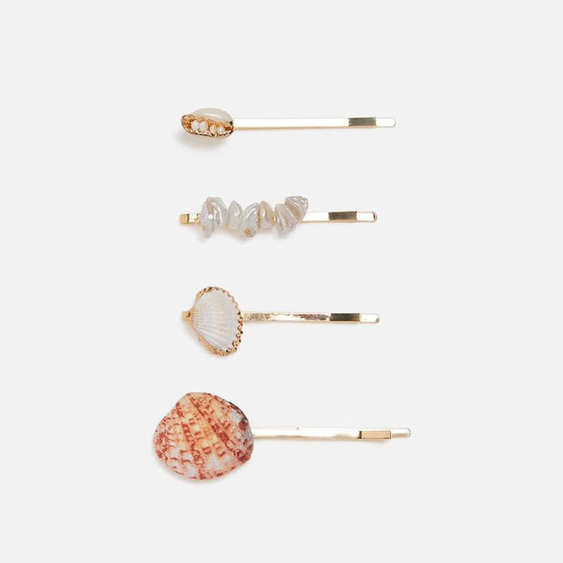 KOMi ZA Hair Pins Set for Women Brand Design Hair Jewelry Shell Simulated Pearls Crystals Hair Clips Bobby Pin Gifts A10312