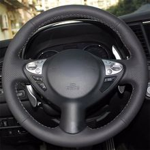 цена на Top Micro Fiber Leather Steering Wheel Hand-stitch on Wrap Cover For Infiniti FX35 FX37 FX50