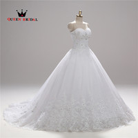 Strapless Wedding Dress Lace Sweetheart Ball Gown Bride Dresses White Color Real Photos Princess Dresses