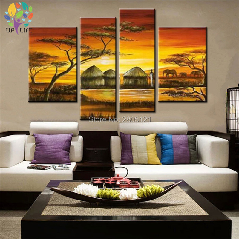 Pintura al óleo hecha a mano sobre lienzo tribus africanas casas ...