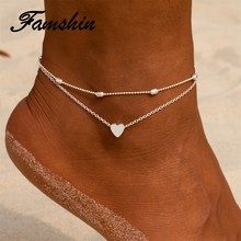 FAMSHIN Women Anklets Heart Barefoot Crochet Sandals Foot Jewelry Two Layer Foot Legs Bracelet Anklets(China)