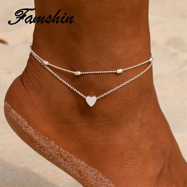 FAMSHIN las mujeres pulseras corazón sandalias pies descalzos pie joyería de dos capas pie piernas pulsera tobilleras