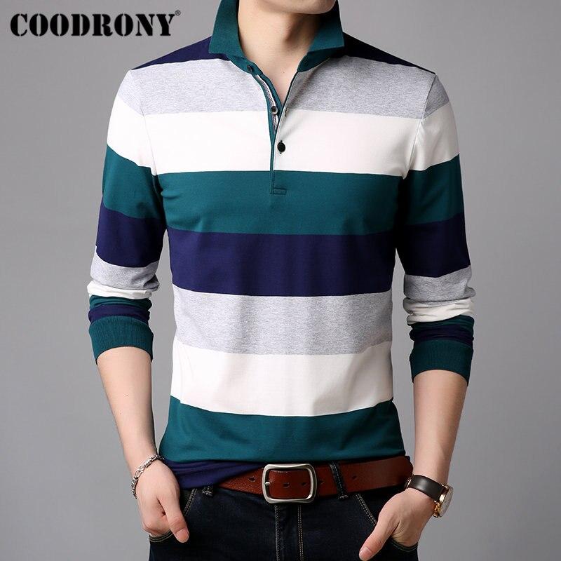 COODRONY Long Sleeve T Shirt Men Striped Casual Streetwear Tshirt Soft Cotton Tee Shirt Homme Turn-down Collar T-Shirt Men 95012