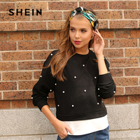SHEIN Pearl Beading 2 In 1 Sweatshirt Fashion Autumn O Neck Pullover Black Casual Smart Casual