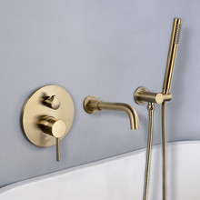 Bathtub Faucet Brass Bathroom Bathtub Mixer Tap Hot and Cold Bath Shower Faucets Wall Mounted Brushed Gold Bathtub Shower Set bathtub faucet wall mounted brass bathtub mixer tap bathroom bath shower faucets with hand shower new arrival black shower set