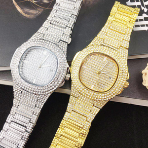 Image 4 - Dropshipping gelo para fora bling diamante relógio de luxo masculino ouro hip hop ice out relógio de quartzo relógios de aço inoxidável relogio