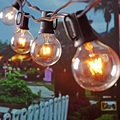 1X 10m G40 Globe String Lights with 20 Clear Bulbs Listed for Indoor/Outdoor Commercial Use Patio Garden Porch Party Decor,black
