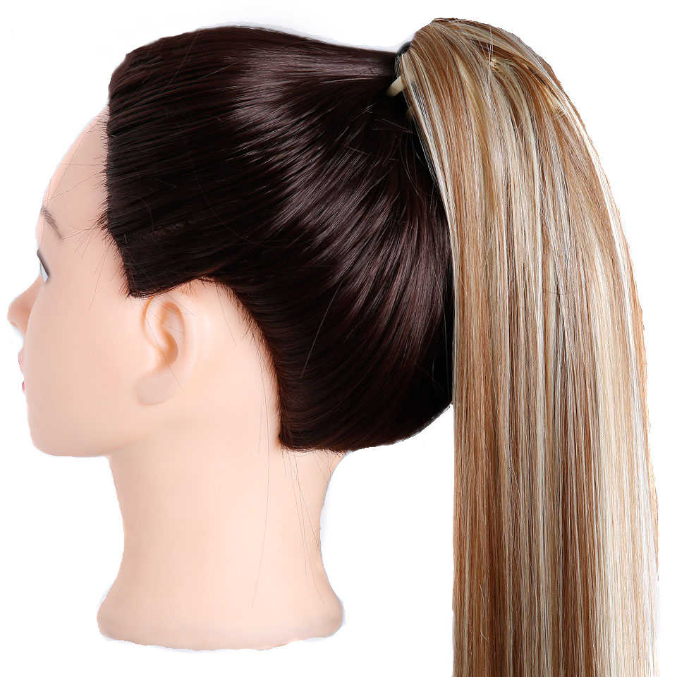 Все 24 ''длинные черные синтетические конский хвост длинные волосы натуральные поддельные волосы хвост шиньоны женские прически термостойкие поддельные волосы