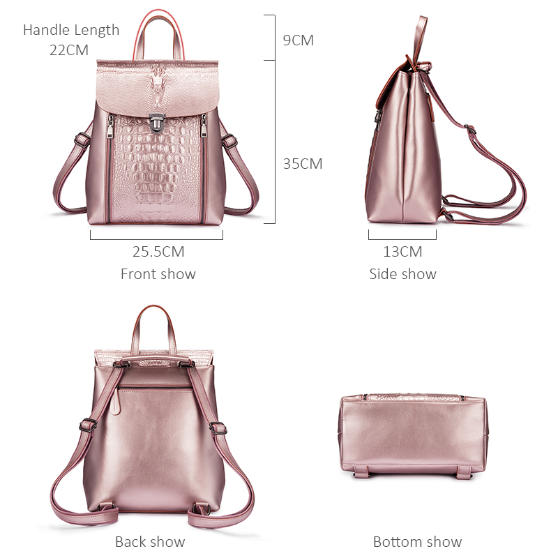 Realer Backpack Women Split Leather Backpack School Bags For Girls Teenagers For Books Waterproof Large Travel Bag Silver/pink #5