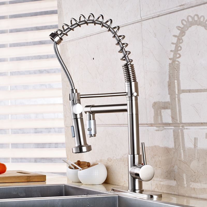 Deck Mounted Kitchen Sink Faucet Swivel Spout Mixer Tap With 8 Cover Plate Nickel Brushed luxury nickel brushed kitchen faucet vessel sink mixer tap 2 spout w 8 plate