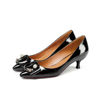 Doratasia Brand New Genuine Leather Thin Med Heels Solid Best Quality Shoes Woman Fashion Spring Pumps Big Size 33-43