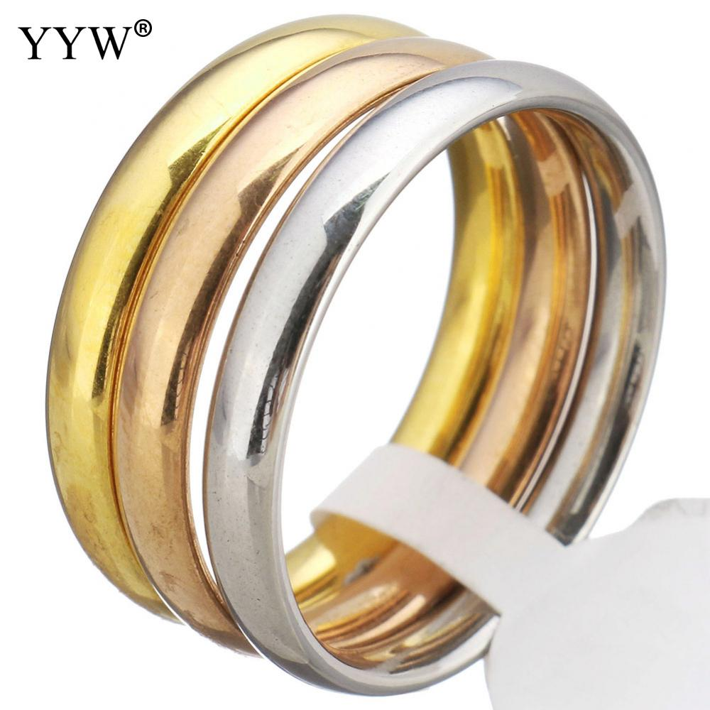 2017 New Fashion Stainless Steel Finger Ring european simple style 3 rows colors cute rings plated plating for woman Wedding