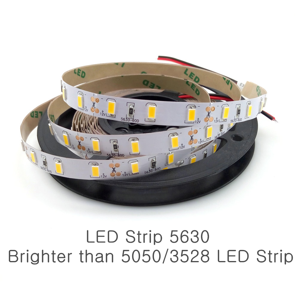 1/2/3/4/5M IP65 Waterproof LED Strip Light 5630 SMD DC12V 60Leds/M 5730 Bar Flexible Light Brighter Than 3528 5050 Led Tape
