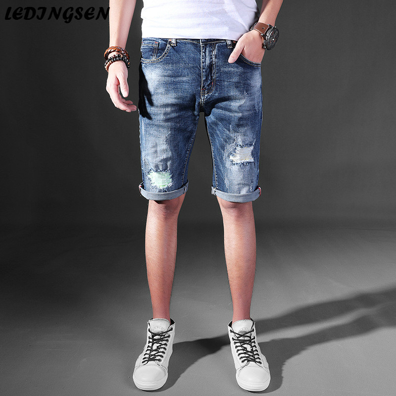 LEDINGSEN 2018 Spring Mens Skinny Blue Destoryed Denim Shorts Bermuda Thin Ripped Jeans Shorts Casual Summer Shorts Streetwear